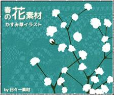 花素材 春 かすみ草 イラスト ダウンロードボタン