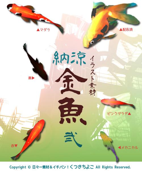 フリー素材 イラスト素材 納涼 金魚 サンプル画像