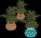 観葉植物イラスト素材《テーブルヤシ三種》配布と廃墟、工場、鍾乳洞…