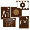 チョコレート アイコン 動画再生ボタン 画像形式 アプリケーション ダウンロードボタン