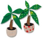 観葉植物イラスト素材《パキラと水玉パキラ》配布と翡翠茄子で作った牛車の頭とおしりの件ページヘリンク