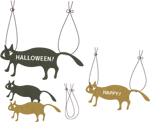 ハロウィンイラスト素材《黒猫と茶猫》配布とえのき茸の本体はえのき