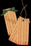 クラフト紙タグ素材《ストライプ(紐なし、紐あり、リボン)》配布と味噌汁にポテチ♪